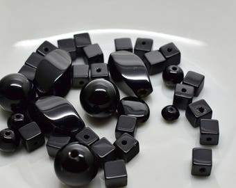 Black Onyx Bead Lot - Rounds, Squares, Rondelles and Twisted