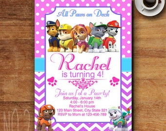 Paw Patrol Birthday Invitation, Paw Patrol Birthday Invitation Girl,  Paw Patrol Invitation Girl, Paw Patrol Party, Paw Patrol Invites