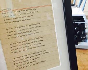 Typewritten framed poetry. On a vintage typewriter: Invictus by William Ernest Henley