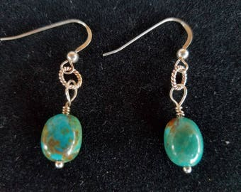 Genuine Turquoise & Sterling Silver Earrings