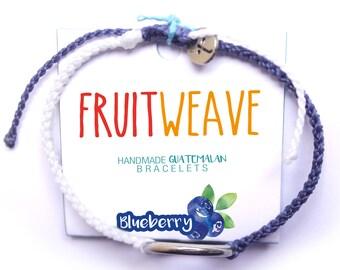 BLUEBERRY NEAT BRACELET, Guatemalan Bracelets, Handmade bracelets, colorful bracelets, fruit based, fruit weave, friendship bracelets.