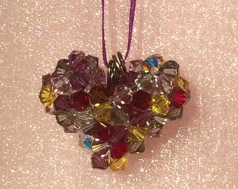 Swarovski Beaded Heart Necklace