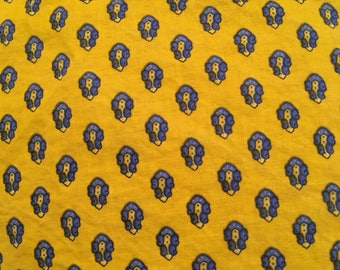 Boho Yellow Fabric Square with Blue Flowers