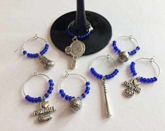 Sports Themed Wine Glass Charms