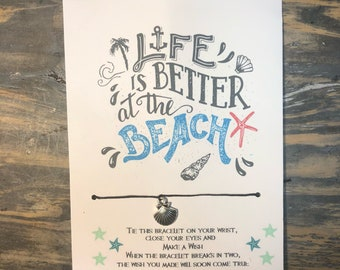 Life is better at the beach wish bracelet.sea shell wish bracelet.Beach life.Friendship bracelet.Beach wish bracelet