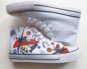 Kandinsky Inspired Customised Hand Painted High Top Trainer Shoes - Size 5 (UK)