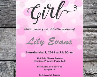 Personalized Baby Shower Invite, Printable Baby Shower Invite, Baby Shower for Girl, Instant Download