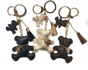 Cute bear keyring keychain brown cream black designer inspired print checkered