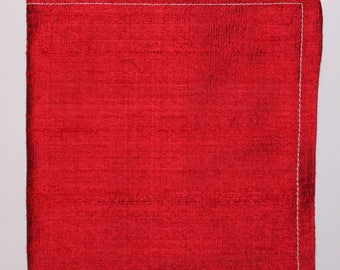 SILK Hankie Pocket Square Handkerchief 100% SILK Dupion Red - UK Made