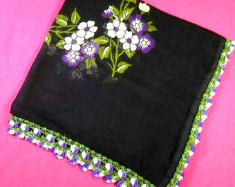 Black Scarf Traditional Turkish Handmade Ancient Vintage Scarf Shawl Embroidery Scarf Black Scarf