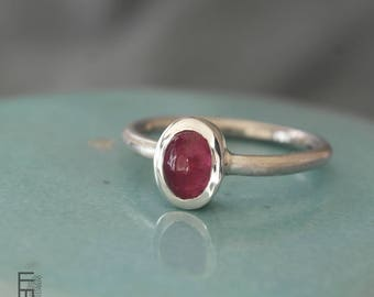 Silver RING with a natural PINK TOURMALINE – elegant silver ring with a oval pink tourmaline cabochon