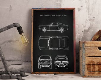 Mustang blueprint etsy ford mustang patent 1967 mustang muscle car car art ford art malvernweather Image collections