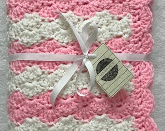 Ready to Ship ~ White Crochet Baby Blanket, Pink Crochet Baby Blanket, Crochet Baby Blanket, Handmade Blanket, Baby Blanket Crochet, Gift