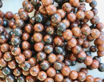 8mm Mahogany Obsidian beads, full strand, natural stone beads, round, 80075