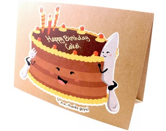 I Draw Foodles Greeting Card - A Cake's Birthday