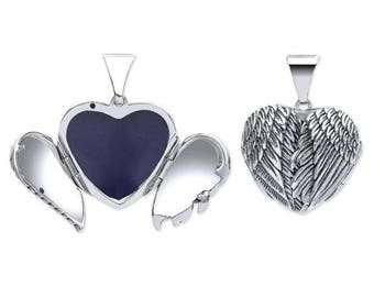 Sterling Silver Hinged Angel Wings Heart Shaped Locket
