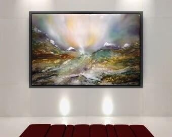 ALPINE-original landscape painting,resin art, contemporary art, large painting, luxury gift, international artist,Channel 4 artist