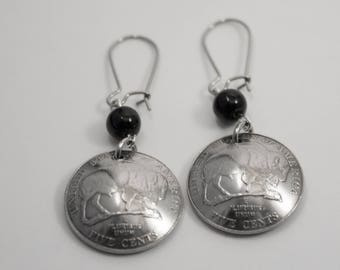 Unique buffalo nickel earrings gift for her, mom, sister, daughter, Christmas, hand made, handmade, jewelry