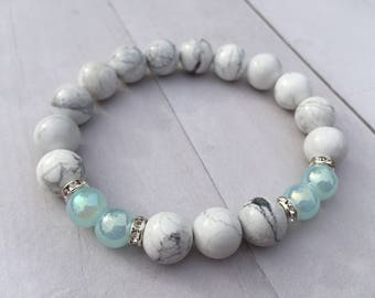 White Howlite Natural Stone 10mm Bracelet w/blue accent & Rhinestone Spacers