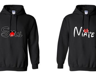 Valentine Gifts Soul Mate COUPLE Design Mickey Minnie Mouse Adult Unisex Hoodies Printed Crew Neck Hooded for Women and Men Matching Clothes