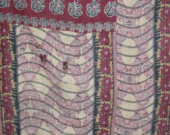 Old Twin Handmade Reversible Vintage Sari Kantha Quilt Old Twin Size Cotton Kantha Bedspread Kantha Gudri Cotton Blanket 140