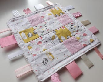 Baby Taggy Blanket, Ribbon Blanket, Teething Toy, Ribbon Taggy Toy, Taggy Teether, pink taggy