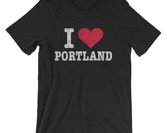 Retro I Love Portland Oregon T Shirt, Distressed Tshirt