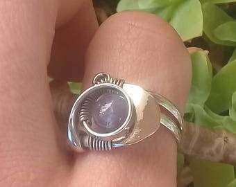 Amethyst ring. Germany silver ring. Stone amethyst. Silver ring. Adjustable ring. Boho ring. Stone silver ring. Amethyst silver, Open ring