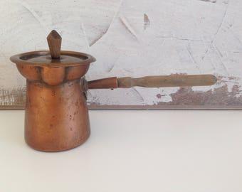 Old cezve - Turkish coffee pot - Copper coffee cezve - Copper Coffee Pot - vintage copper coffee cezve - gift idea - home decor