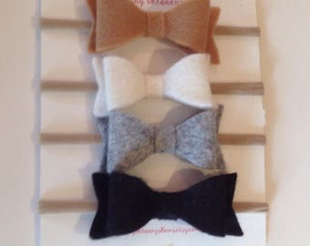 4 Pack Neutral Color Felt Bows, baby headbands, baby bows, felt bow, baby hair bows, nylon headband