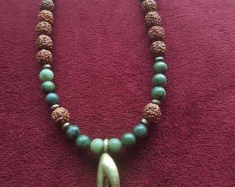 Green lace agate and Smokey quartz malas