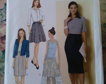 Brand new unused sewing pattern butterick 6326 skirt high waist overlay sizes 8 - 24