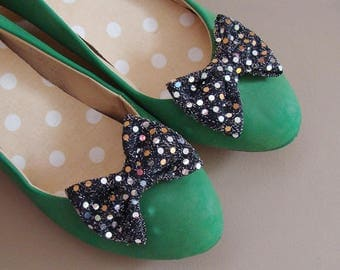 Shoe clips - shimmering bows