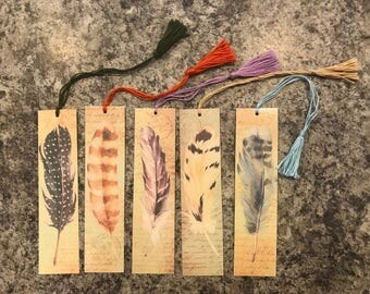 Feather Bookmarks with Tassels