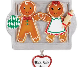 Gingerbread Family Of 2 Christmas Ornament- Gingerbread Christmas Ornament-Gingerbread Couple Ornament-First Christmas Ornament