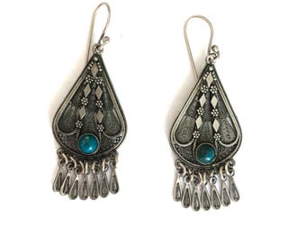 Vintage Ethnic Sterling Silver Turquoise Bead Filigree Dangle Earrings