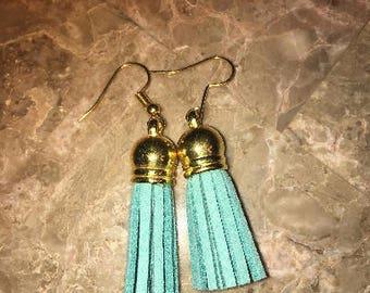 Light weight tassel earrings - Tiffany blue