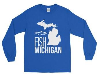 Michigan Fishing Shirt | Fish Michigan Long Sleeve T-shirt