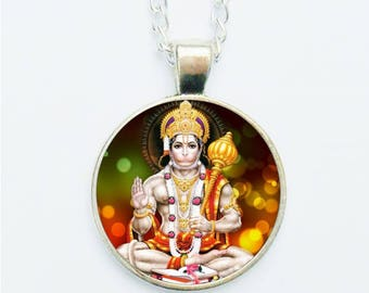 Lord Hanuman Pendant Necklace Earrings Ring or Pin Badge New Age Monkey Ape Faced Hindu God Deity Indian Jewellery Gift