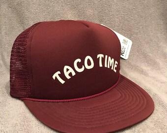 Taco Time Hat Vintage Employee Trucker Mesh Snapback Cap 2104