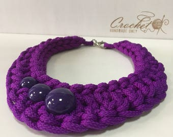 Purple rope crochet large chunky bib necklace Rope modern jewelry Fashion big bold knot fabric cord necklace Valentines lady beaded gift