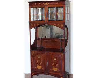 A Quality Art Nouveau Inlaid Mahogany Mirrored Display Cabinet Libertys