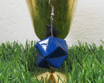Origami geometrical  Jewelry Earrings - Blue 1pair