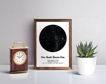 Personalised constellation stars map poster, night sky print, anniversary gift, new baby gift, constellation map