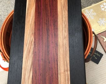 Hand-made cutting board with wenge, zebra, babinga