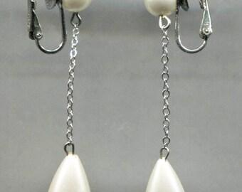 RICHELIEU Faux Pearl Drop Clip Back Earrings