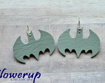 Lightweight faux gray leather batman earrings gift for her