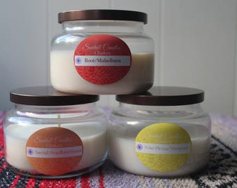 Grounding Chakras w. crystals - organic soy candle package - handpoured aromatherapy candles