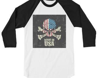 Made in USA 3/4 sleeve raglan shirt