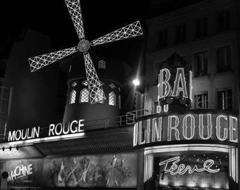 Paris, Moulin Rouge - Canvas Print - Interior Design - Wall Art - France - Montmartre - Black&White - Street Photography  Art Print